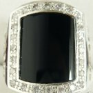 Chinese Jewelry black jade men's ring size:8-11  free shipping