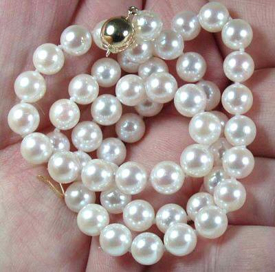AAA 7-8mm White Freshwater Pearl Necklace free shipping