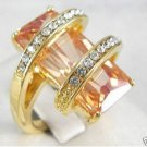 Beautiful zircon CRYSTAL ring 6-9 free shipping