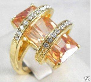 Beautiful zircon CRYSTAL ring 6-9 free shipping
