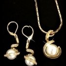 white shell pearl Jewellery necklace earring set free shipping