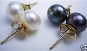 White And Black Freshwater Pearl Earrings free shipping