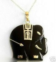 Elegant Black Jade Elephant Necklace Pendent  free shipping