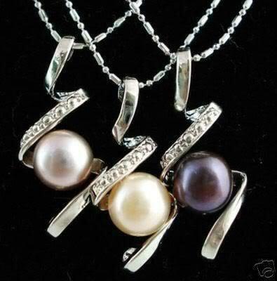 3pcs Black Purple White Pearl Pendants Necklace  free shipping