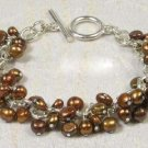 Real Chocolate Brown Pearl Silver Link Bracelet free shipping