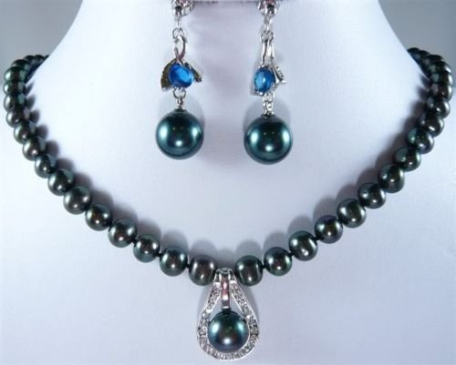 Beautiful 7-8mm black pearl necklace Match earring free shipping