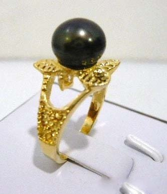 Real Black Pearl Flower Ring size: 7.8.9 free shipping