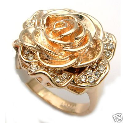 Sparking flower-shape crystal ring  free shipping