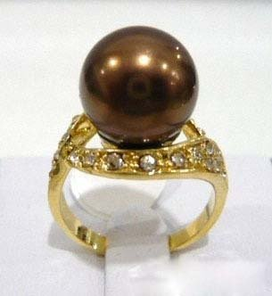 Chocolate Pearl Crystal Ring size:6.7.8.9 10 free shipping