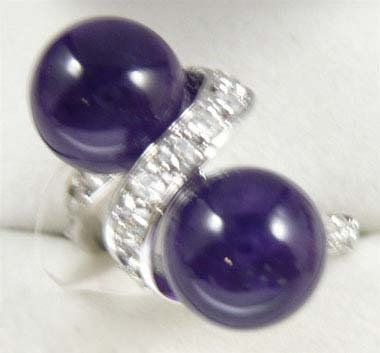 Double Amethyst Beads Silver Crystal Ring Size: 7.8.9 free shipping