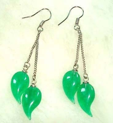 Green Jade Capsicum Pimiento Silver Hook Earrings free shipping