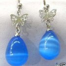 Beautiful blue opal butterfly dangle earrings  free shipping