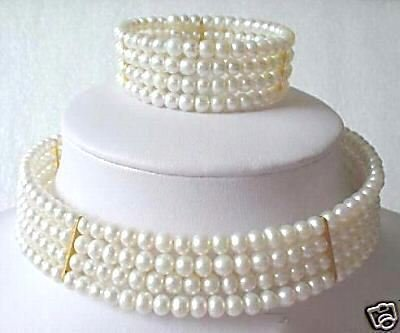 Stuning Choker New 6mm Pearl Necklace Bracelet set  free shipping