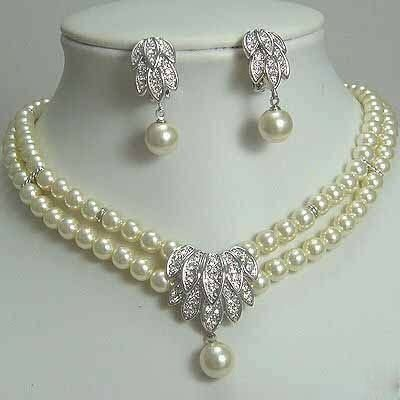 Fancy Bridal Jewellery Silver Pearl Necklace Earring  free shipping