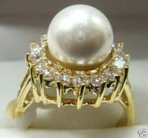 Vogue white shell pearl Jewelry ring size 7--9# free shipping