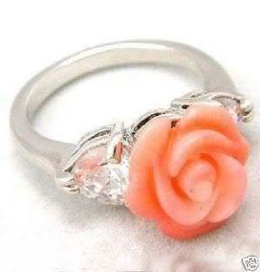 Stunning Pink coral rose flower ring size 6-9 free shipping