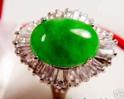 Beautiful Jade Green Cabochon Ring 7.8.9 free shipping