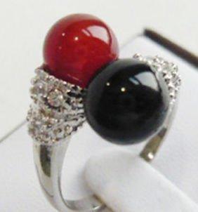 Beautiful Black red Jade Woman's Ring 6-9#  free shipping