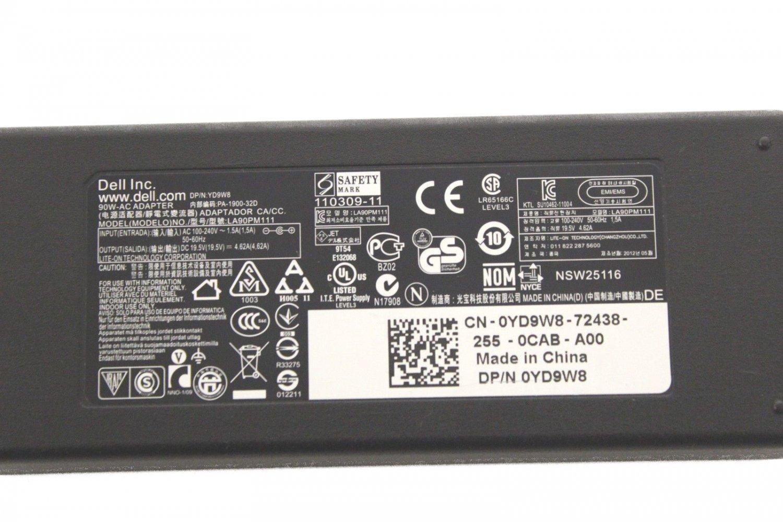 Original OEM Dell LA90PM111 YD9W8 195V 462A 90 Watt Notebook Ac Adapter