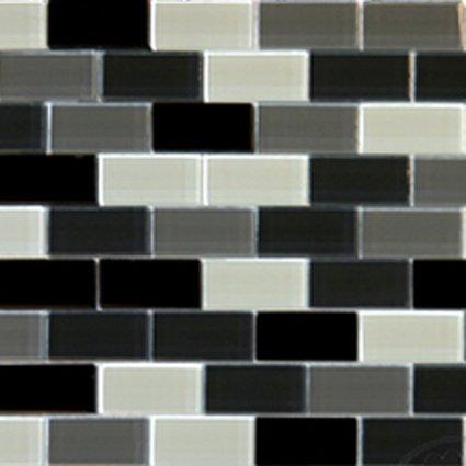 Mosaics 1X2 GLASS BRICK BLACK BLEND (CrystallizedBlend) 12x12