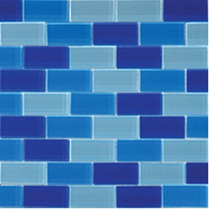 Mosaics 1X2 GLASS BRICK BLUE BLEND (CrystallizedBlend) 12x12