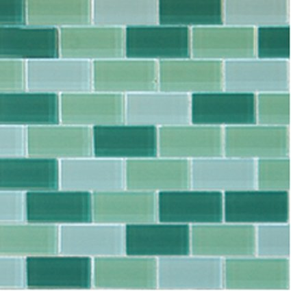 Mosaics1X2 GLASS BRICK GREEN BLEND (CrystallizedBlend) 12x12