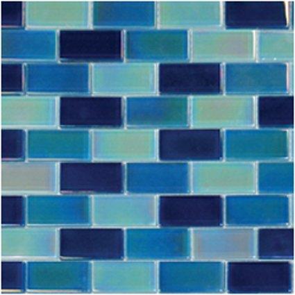 Mosaics 1X2 GLASS IRRIDESCENT BLUE BLEND (CrystalizedBlend) 12x12