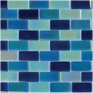 Mosaics 1X2 GLASS IRRIDESCENT BLUE BLEND (CrystalizedBlend) 12x12
