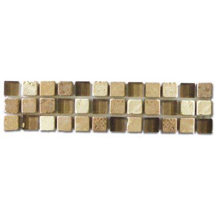 Border  Noce, Beige and Glass 3x12 (Travertine)