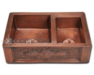 Copper P 119 Double Offset Bowl Apron Sink