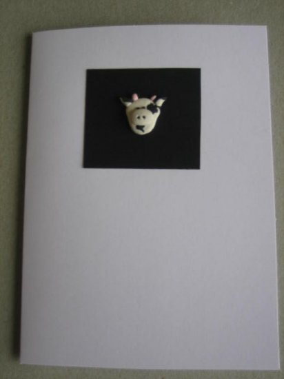 Handmade Polymer Clay Card - Cow
