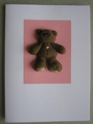 Handmade Polymer Clay Card - TEDDY BEAR