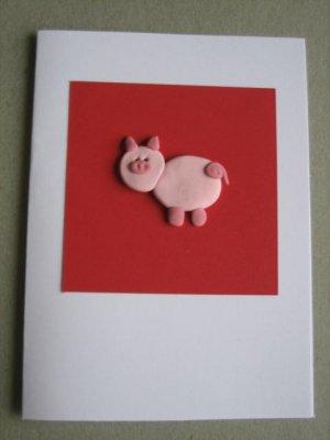 Handmade Polymer Clay Card - PIG