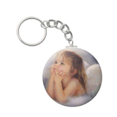 2.25 Inch Baby Angel On Cloud Button Keychain