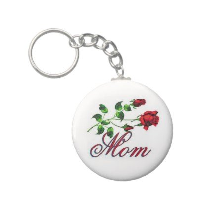2.25 Inch Mom W/ Red Roses Button Keychain