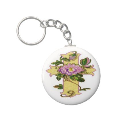 2.25 Inch Cross W/Pink Flower Religious Button Keychain