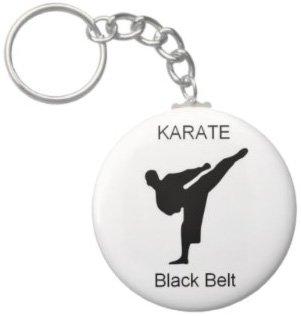 2.25 Inch Karate Blackbelt Button Keychain