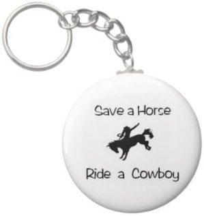 2.25 Inch Save A Horse Ride A Cowboy Keychain