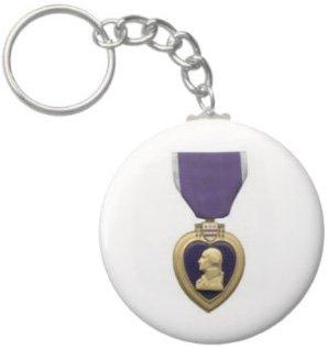 2.25 Inch Purple Heart Keychain