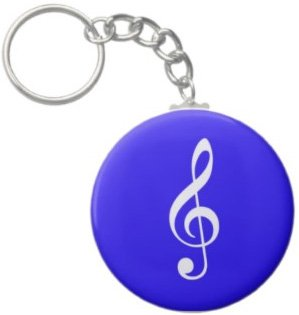 2.25 Inch Treble Clef Music Note Keychain