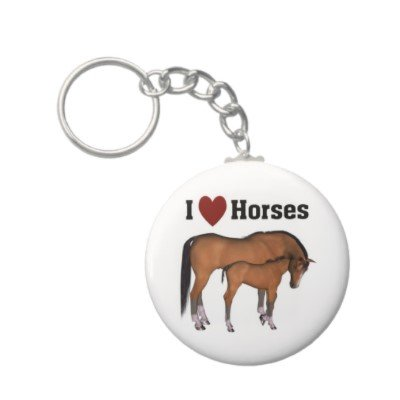2.25 Inch I Love Horses Keychain