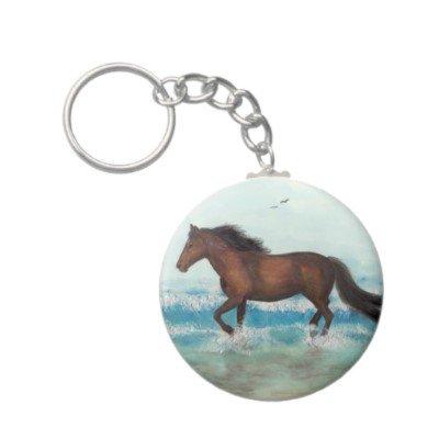 2.25 Inch Mustang Horse Running on Beach Keychain
