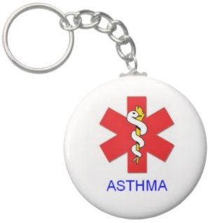 2.25 Inch *Alert* Asthma Medical Keychain