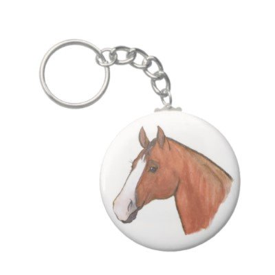 2.25 Inch Brown and White Horse Keychain