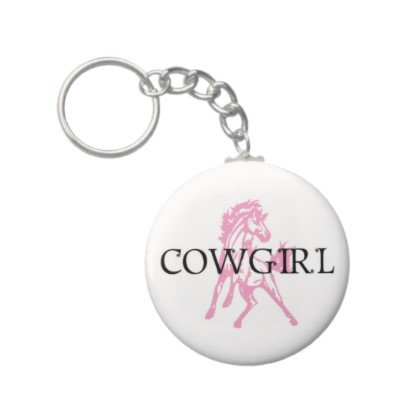 2.25 Inch Pink Cowgirl Bronco Horse Keychain