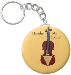 2.25 Inch I Broke My G String Cello Keychain