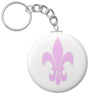 2.25 Inch Pink Fleur De Lis Keychain