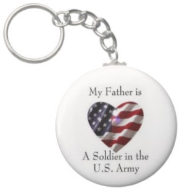 2.25 Inch My Father Soldier in the US Army Keychain