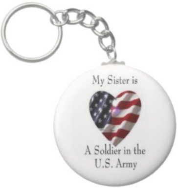 2.25 Inch My Sister Soldier in the US Army Keychain
