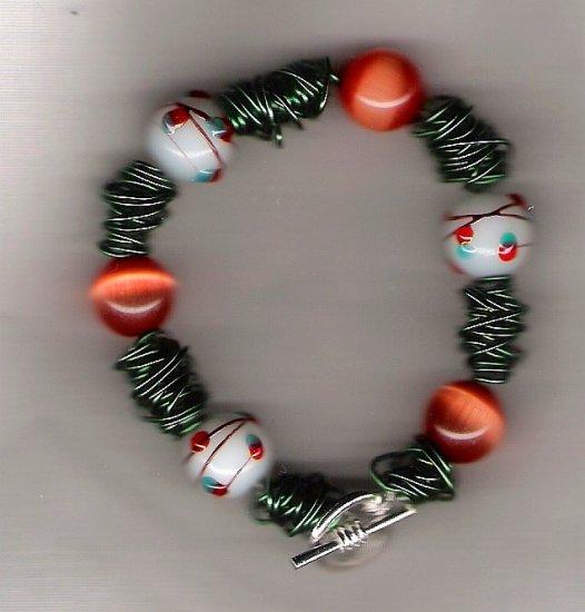 Squiggle Orange Cats Eye Beaded Bracelet